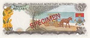 Bahamas, 20 Dollars, 1968, UNC, p31s, SPECIMEN