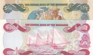 Bahamas, 50 Cent and 3 Dollars, 1984/2001, UNC, p44/p68, (Total 2 banknotes)