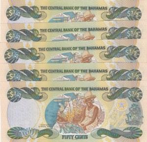 Bahamas, 50 Cents, 2001, UNC, p68, (Total 5 consecutive banknotes)