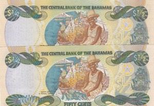 Bahamas, 50 Cents, 2001, UNC, p68, (Total 2 Banknotes)