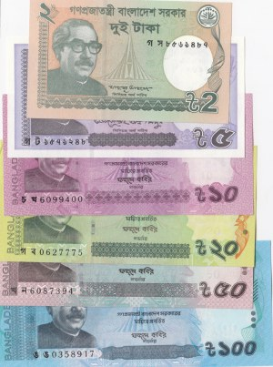 Bangladesh, 2 Taka, 5 Taka, 10 Taka, 20 Taka, 50 Taka and 100 Taka, 2016/2017, UNC, (Total 6 banknotes)