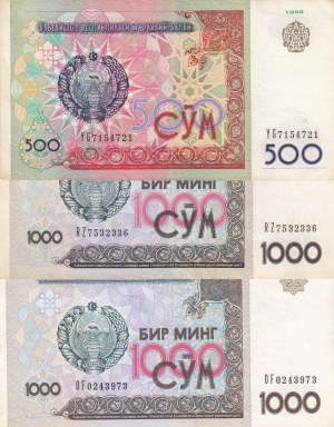 Belarus, 20 Ruble, 50 Ruble (4), 100 Ruble and 500 Ruble (2), 2000, UNC, (Total 8 banknotes)