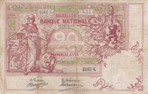 Belgium, 20 Francs, 1913, FINE, p67