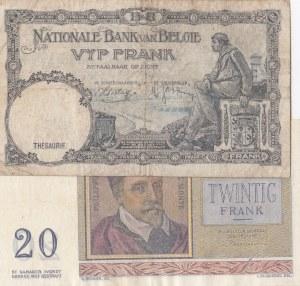 Belgium, 20 Francs and 5 Francs, 1956/ 1936, VF/ FINE, p132b/ p108a, (Total 2 Banknotes)