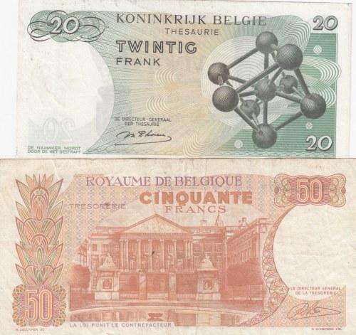 Belgium, 20 Francs and 50 Francs, 1964/ 1966, UNC/VF, p138/ p139, (Total 2 Banknotes)