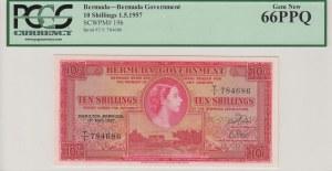 Bermuda, 10 Shillings, 1957, UNC, p19b