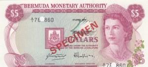 Bermuda, 5 Dollars, 1978, UNC, p28s, SPECIMEN