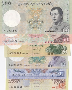 Bhutan, 1 Ngultrum, 5 Ngultrum, 10 Ngultrum, 20 Ngultrum, 50 Ngultrum and 100 Ngultrum, 2013/2015, UNC, (Total  banknotes)