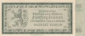 Bohemia and Moravia, 50 Korun, 1940, UNC, p5s, SPECIMEN