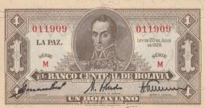Bolivia, 1 Boliviano, 1928, UNC, p128b