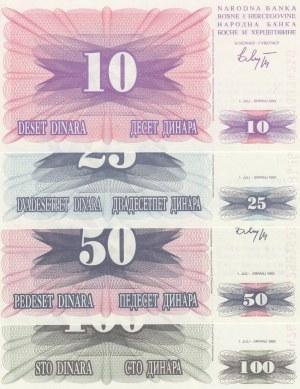 Bosnia Herzegovina, 10 Dinara, 25 Dinara, 50 Dinara and 100 Dinara, 1992, UNC, p10/p11/p12/p13, (Total 4 banknotes)