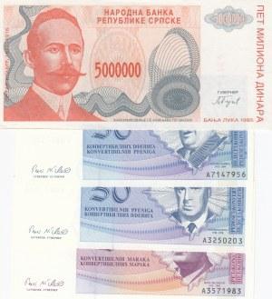 Bosnia Herzegovina, 50 Pfeniga, 50 Pfeniga, 5 Maraka ve 5000 Dinara, 1998/ 1993, UNC, p57a/ p58a/ p61a/ p152a, (Total 4 Banknotes)