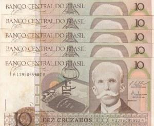 Brasil, 10 Cruzados, 1987, UNC, p209b, (Total 5 Banknotes)