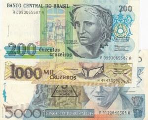 Brasil, 3 Pieces UNC Banknotes