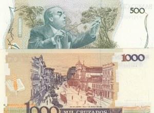 Brazil, 500 Cruzados and 1000 Cruzados, UNC, (Total 2 banknotes)