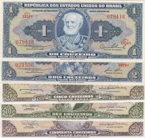 Brazil, 1 Cruzeiro, 2 Cruzeiro, 5 Cruzeiro, 10 Cruzeiro and 50 Cruzeiro, UNC, (Total 5 banknotes)