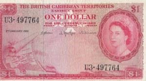 British Caribbean, 1 Dollar, 1961, VF, p7c