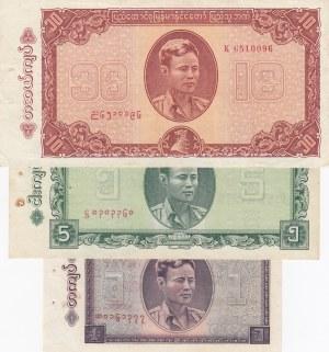 Burma, 1 Kyat, 5 Kyat and 10 Kyat, XF / UNC, p52 / p53/ p54, (Total 3 banknotes)
