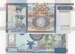 Burundi, 1000 Francs and 2000 Francs, 2006/ 2008, UNC, p39d/ p47