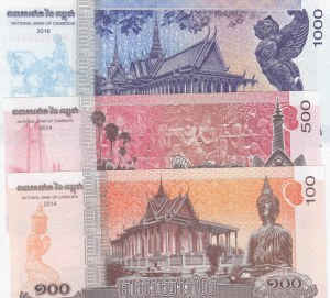 Cambodia, 100 Riels, 500 Riels and 1000 Riels, 2014/2016, UNC, p65/pnew, (Total 3 banknotes)