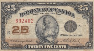 Canada, 25 Cents, 1923, POOR
