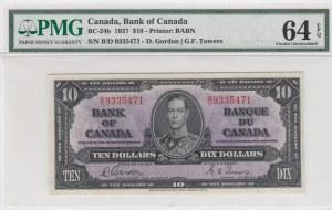 Canada, 10 dollars, 1937, UNC, p24b
