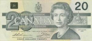Canada, 20 Dollars, 1991, VF / XF, p58aA