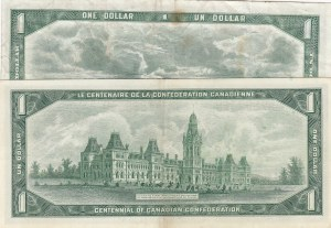 Canada, 1 Dollar, 1954, XF/ VF, p74a/ p74b, (Total 2 Banknotes)