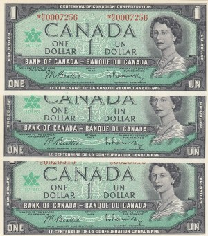 Canada, 1 Dollar, 1967, UNC, p74b, (Total 3 Banknotes)