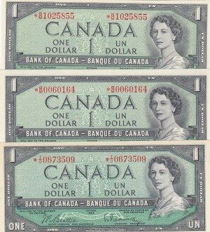 Canada, 1 Dollar, 1954, UNC, p75b, (Total 3 Banknotes)