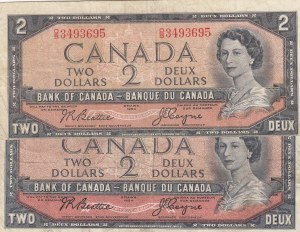 Canada, 2 Dollars, 1954, VF/ FINE, p76a, (Total 2 Banknotes)