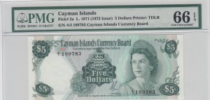 Cayman Islands, 5 Dollars, 1972, UNC, p2a