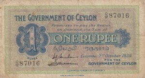 Ceylon, 1 Rupee, 1939, FINE, p16c