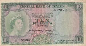 Ceylon, 10 Rupees, 1953, FINE-VF, p55a