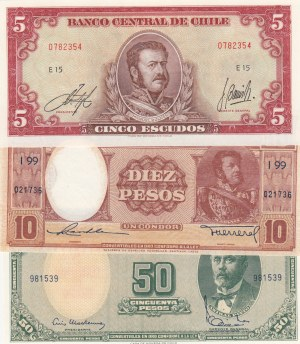 Chile, 5 Escudos, 10 Pesos and 50 Pesos, UNC, (Total 3 banknotes)