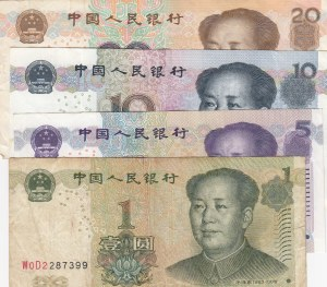 China, 1 Yuan, 5 Yuan, 10 Yuan and 20 Yuan, 1999 / 2005, VF / XF (-), p895 / p903 /p904 / p905, (Total 4 banknotes)