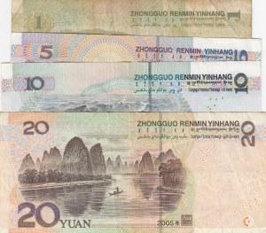 China, 1 Yuan, 5 Yuan, 10 Yuan and 20 Yuan, 1999 / 2005, VF / XF (-), p895 / p903 /p904 / p905, (Total 4 banknotes)