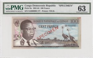 Congo Demokratic Republic, 100 Francs, 1961-69, UNC, p6s, SPECİMEN