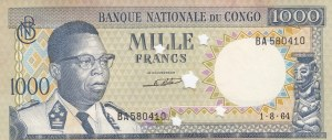 Congo Democratic Republic, 1000 Francs, 1964, UNC, p8a, (CANCELLED)