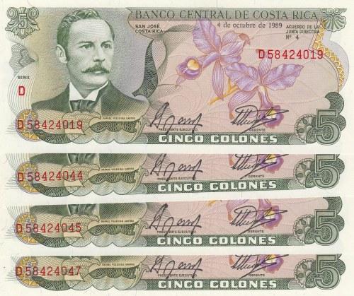 Costa Rica, 5 Colones, 1989, UNC, p236d, (Total 4 Banknotes)