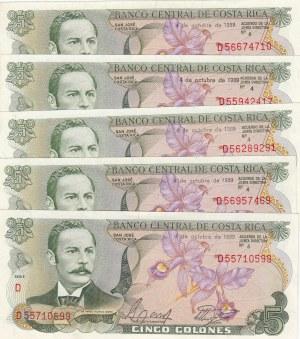 Costarica, 5 Colones, 1989, UNC, p236d, (Total 5 Banknotes)