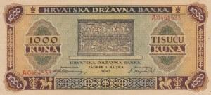 Crotia, 1000 Kuna, 1943, AUNC (+), p12a