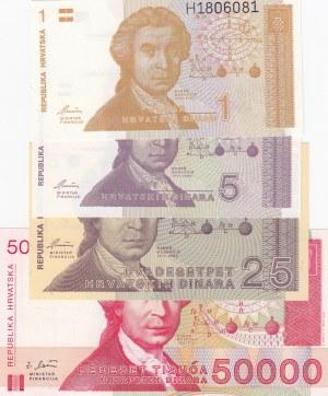 Croatia, 1 Dinara, 5 Dinara, 25 Dinara and 50.000 Dinara, 1991/1993, UNC, p16/p17/p19/p26, (Total 4 banknotes)