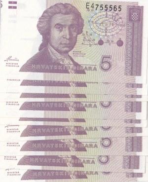 Croatia, 5 Dinara, 1991, UNC, p17, (Total 9 banknotes)