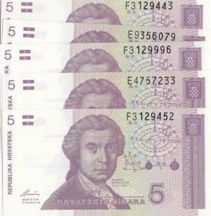 Croatia, 5 Dinara, 1991, UNC, p17a, (Total 5 banknotes)