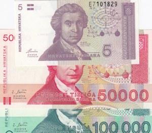 Croatia, 5 Dinara, 50000 Dinara and 100000 Dinara, 1991/ 1993, UNC, (Total 3 Banknotes)