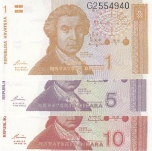Repbulika Hrvatska (Crotia), 1 Dinar, 5 Dinara and 10 Dinara, 1991, UNC, p16a/ p17a/ p18a, (Total 3 Banknotes)