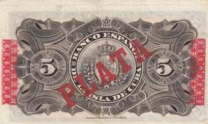 Cuba, 5 Peso, 1896, VF (+), p48