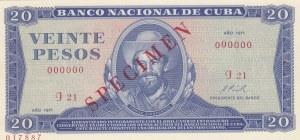 Cuba, 20 Pesos, 1971, UNC, p105a, SPECİMEN