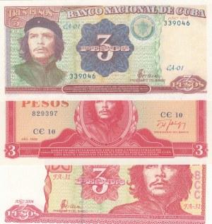 Cuba, 3 Peso (3), 1989/1995/2004, UNC, p107/p113/p127, (Total 3 banknotes)